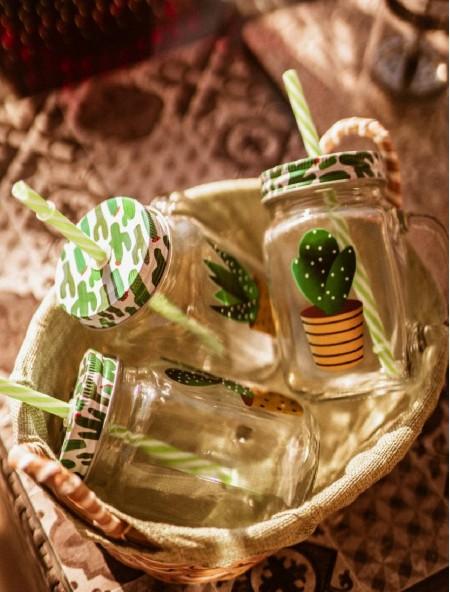 Ποτήρι για χυμούς με μεταλλικό καπάκι και καλαμάκι σετ 3 τεμάχια