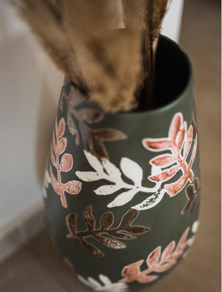 Βάζο κεραμικό με φύλλα σετ 2 τεμάχια