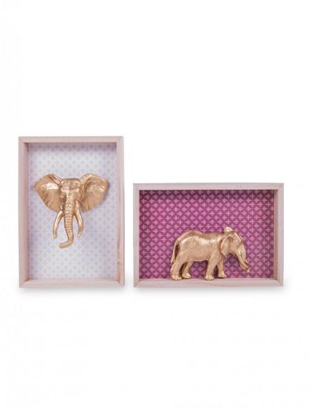 Κάδρο ξύλινο με ελέφαντα σετ 2 τεμάχια