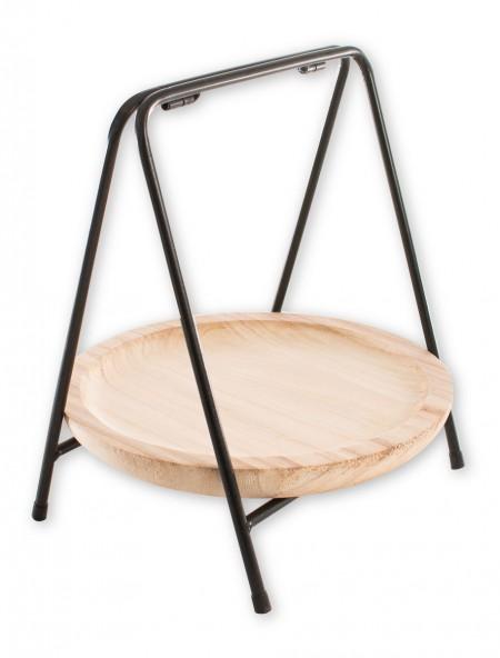 Διακοσμητικός δίσκος ξύλινος σε μεταλλική βάση