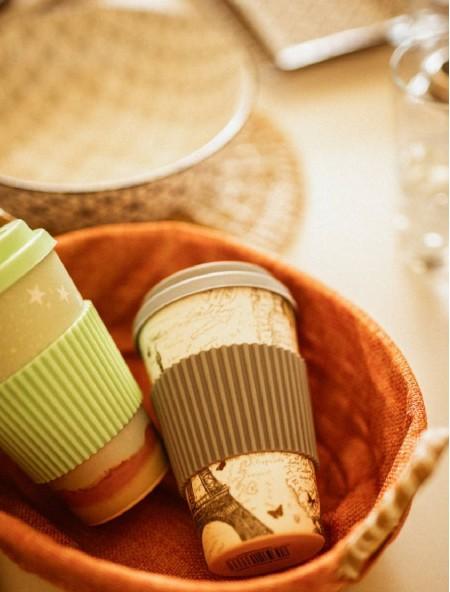 Κούπα bamboo με λαβή σιλικόνης γκρι