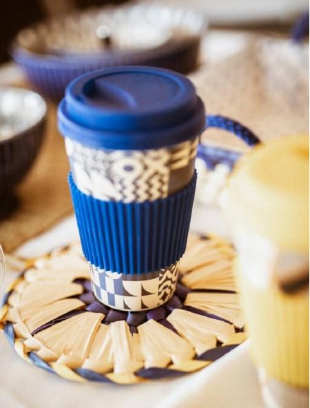 Κούπα bamboo με λαβή σιλικόνης μπλε