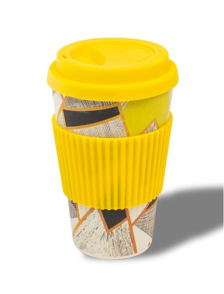 Κούπα bamboo με λαβή σιλικόνης κίτρινη