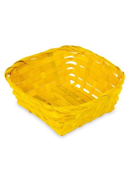 Καλάθι ψάθινο τετράγωνο κίτρινο