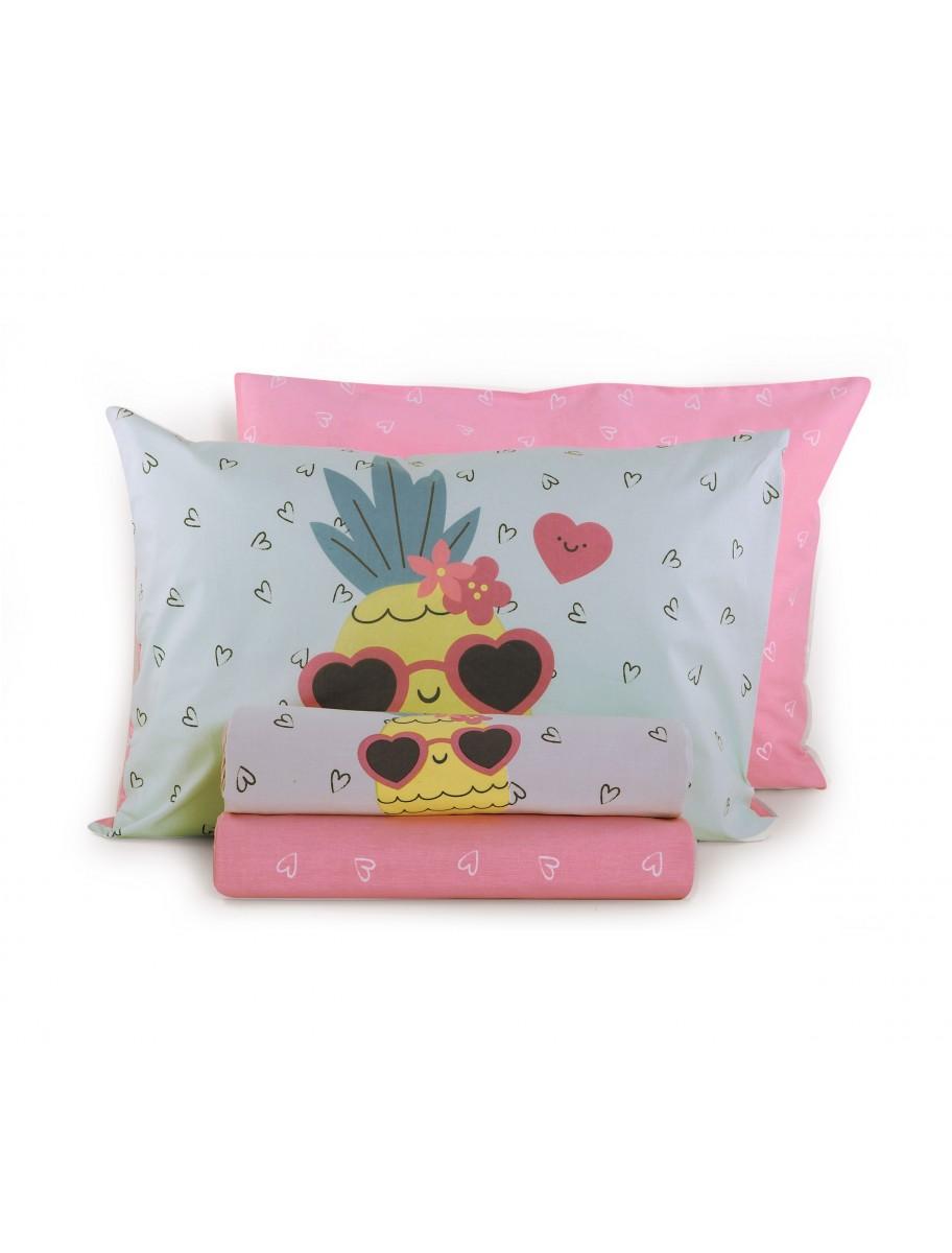 Σεντόνια μονά Pineapple Dream σετ 3 τεμαχίων NEF NEF